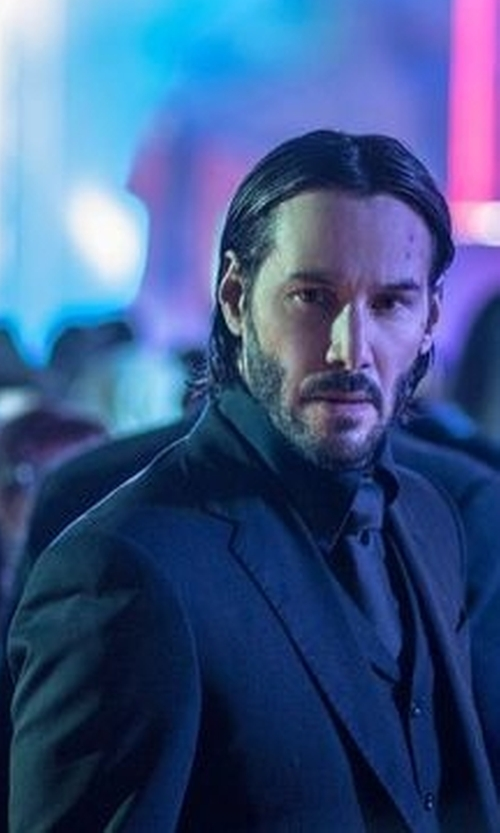 Keanu Reeves with Luca Mosca (Costume Designer) Custom Made Three-Piece Suit in John Wick: Chapter 2