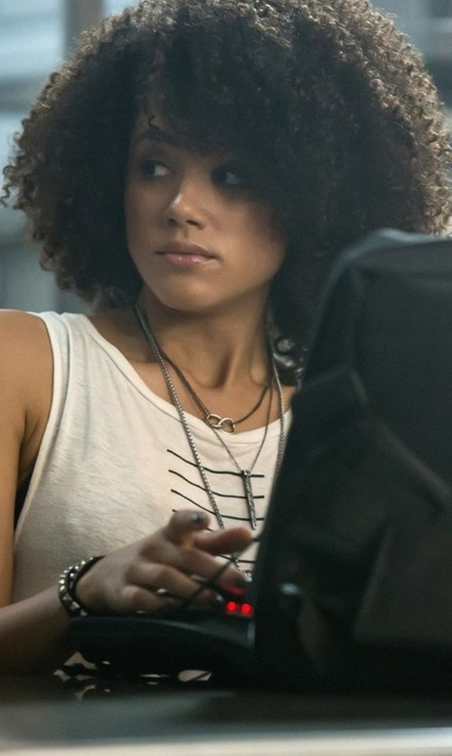 Nathalie Emmanuel with 3.1 Phillip Lim Sailor Striped Tank Top in The Fate of the Furious