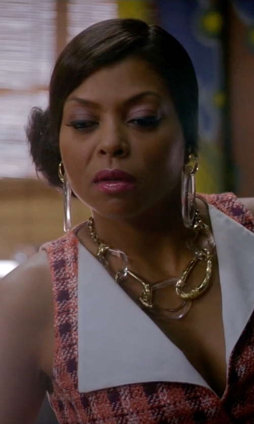 Taraji P. Henson with Kenneth Jay Lane Transparent Hoop Earrings in Empire
