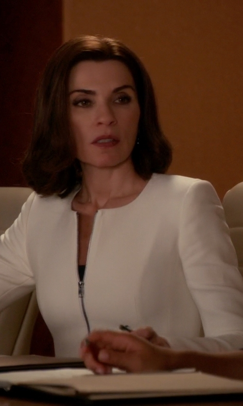 Julianna Margulies with Escada Wool Zip-Front Peplum Jacket in The Good Wife