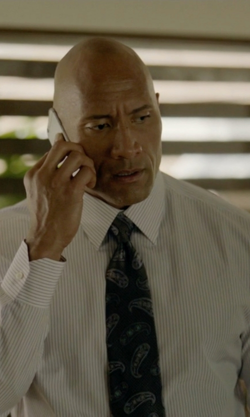 Dwayne Johnson with David Donahue Paisley Silk Tie in Ballers