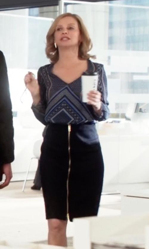 Calista Flockhart with Rag & Bone Front Zip Skirt in Supergirl