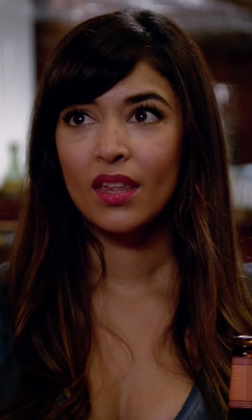 Hannah Simone with Paige Denim Charlie V-Neck T-Shirt in New Girl