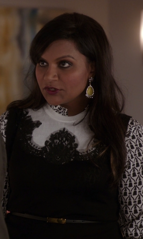 Mindy Kaling with Judith Ripka La Petite Canary Crystal, White Sapphire & Sterling Silver Oval Drop Earrings in The Mindy Project