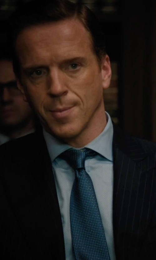 Damian Lewis with Stefano Ricci Neat-Patterned Silk Tie in Billions