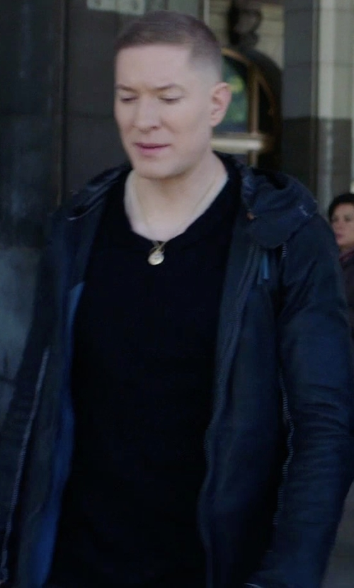 Joseph Sikora with John Varvatos Hooded Leather Jacket in Power
