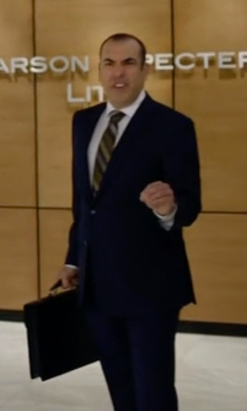 Rick Hoffman with Gucci Buckle-Flap Leather Briefcase in Suits