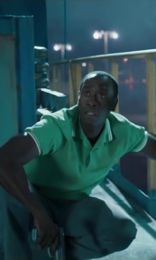 Don Cheadle with Fred Perry Green Polo Shirt in Iron Man 3