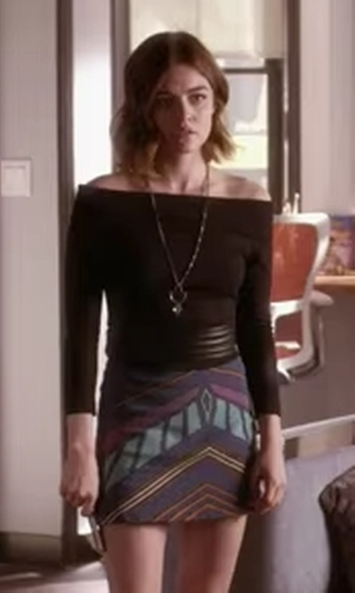 Lucy Hale with Topshop Chevron Print A-Line Skirt in Pretty Little Liars