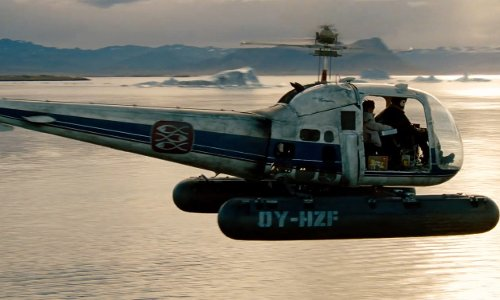 Unknown Actor with Bell 47J Ranger Helicopter in The Secret Life of Walter Mitty