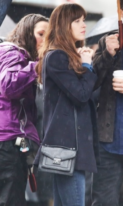 Dakota Johnson with Loeffler Randall Mini Rider Crossbody Bag in Fifty Shades Darker