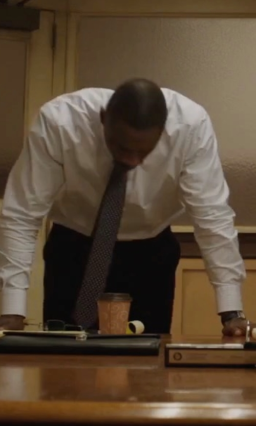 Idris Elba with Lanvin Polka Dot Silk Necktie in Molly's Game