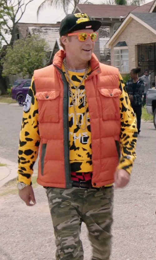 Will Ferrell with Trukfit Mob To The End Leopard Print Fleece Sweater in Get Hard