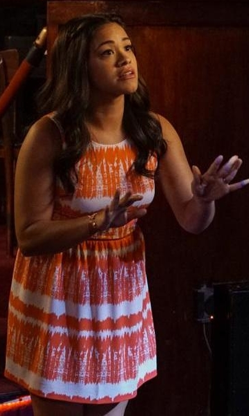 Gina Rodriguez with Trina Turk Sleeveless Floral-Print Dress in Jane the Virgin
