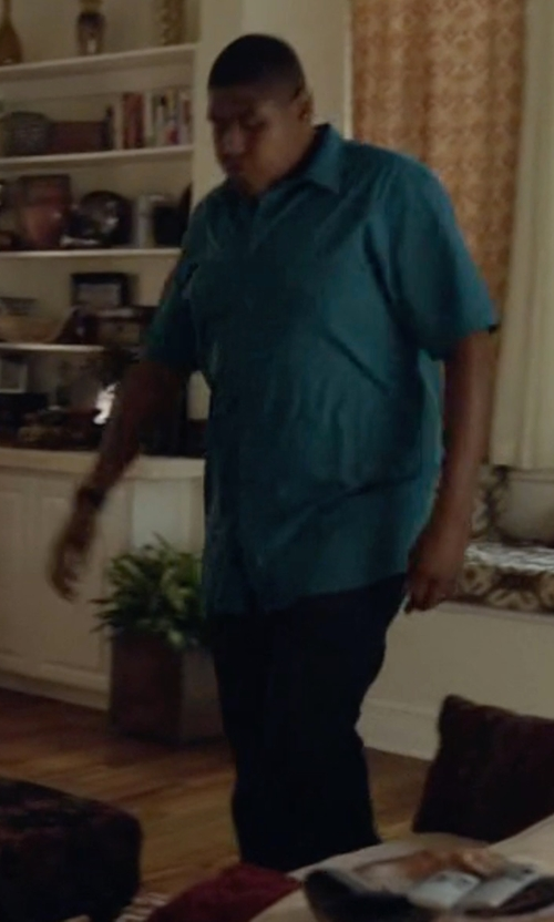 Omar Benson Miller with Silent Damir Doma Worn Effect Denim Pants in Ballers