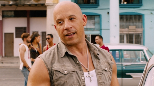 Vin Diesel with G-Star Modified Landoh Deconstructed Shirt in The Fate of the Furious