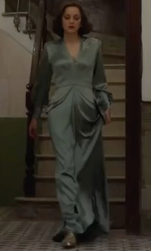 Marion Cotillard with Joanna Johnston (Costume Designer) Custom Made Green Silk Long Sleeve Gown in Allied