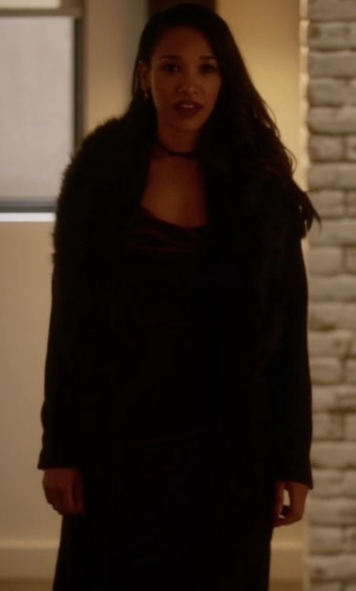 Candice Patton with Adrienne Landau Knit Rabbit Fur Coat in The Flash