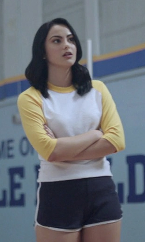 Camila Mendes with American Apparel Interlock Running Shorts in Riverdale