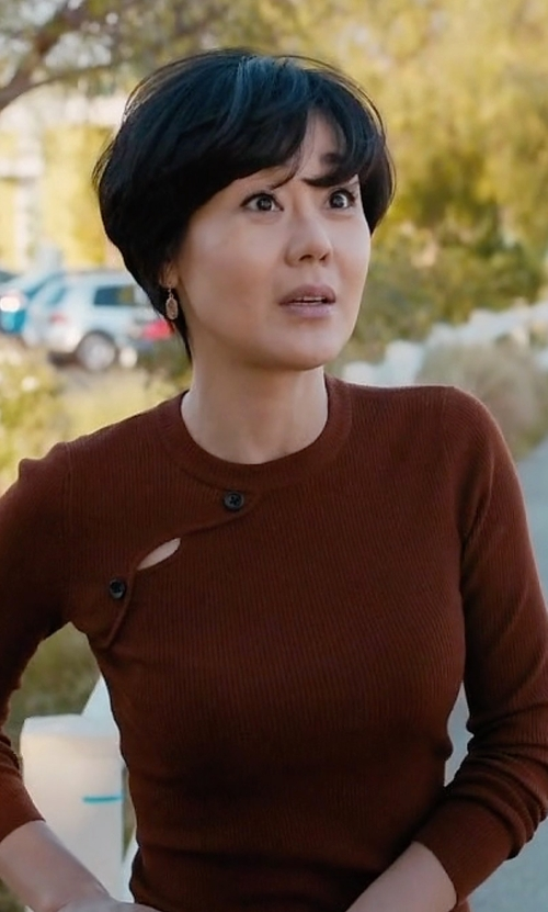 Yunjin Kim with A.L.C. Caplan Long-Sleeve Button Sweater in Mistresses