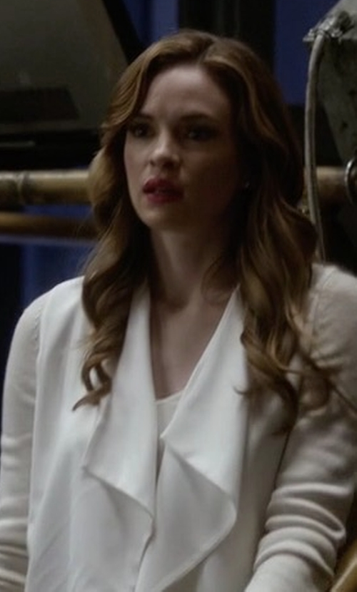 Danielle Panabaker with Alice + Olivia Claude Open-Front Shawl-Collar Blazer in The Flash