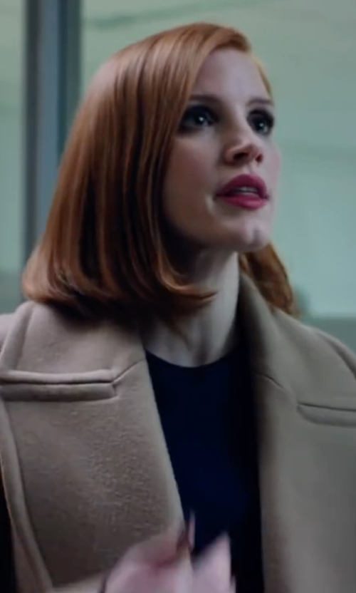 Jessica Chastain with Theory Oaklane Wrap Coat in Miss Sloane