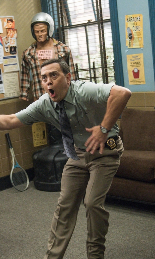 Joe Lo Truglio with Shinola The Runwell Leather Strap Watch in Brooklyn Nine-Nine