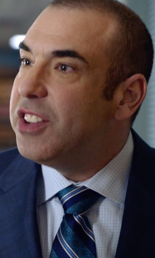 Rick Hoffman with Daniel Cremieux Signature Mixed Stripe Silk Tie in Suits