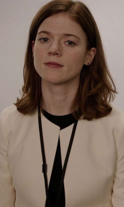 Rose Leslie with Tahari ASL Jacquard Topper Jacket in The Good Fight