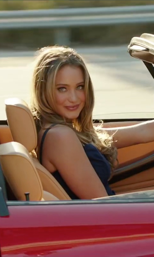 Hannah Davis with Helmut Lang Silk Cropped Camisole Top in Vacation