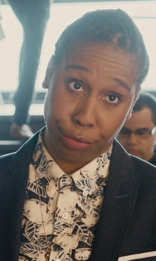 Lena Waithe with FRNCH Marble Print Shirt in Master of None