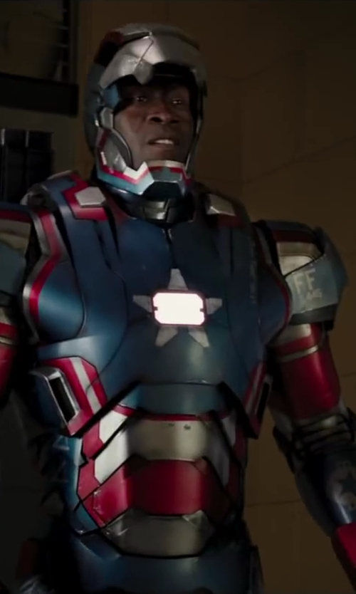 Don Cheadle with Ryan Meinerding (Concept Artist) Iron Patriot Suit in Iron Man 3