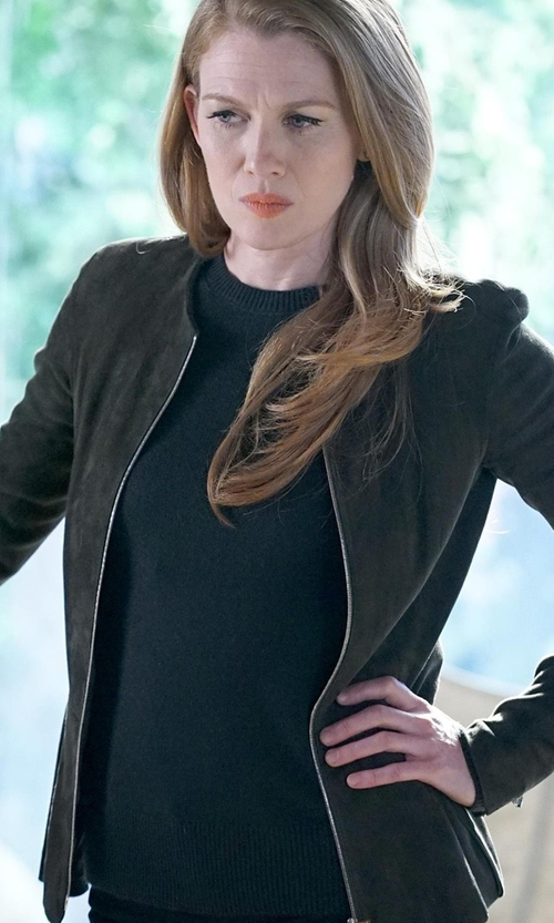 Mireille Enos with Sunspel Long-Sleeved T-Shirt in The Catch