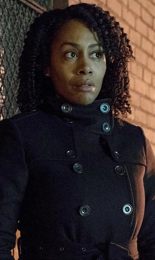 Simone Cook with Jane Post Belted Tech-Fabric Trenchcoat in Marvel's Luke Cage