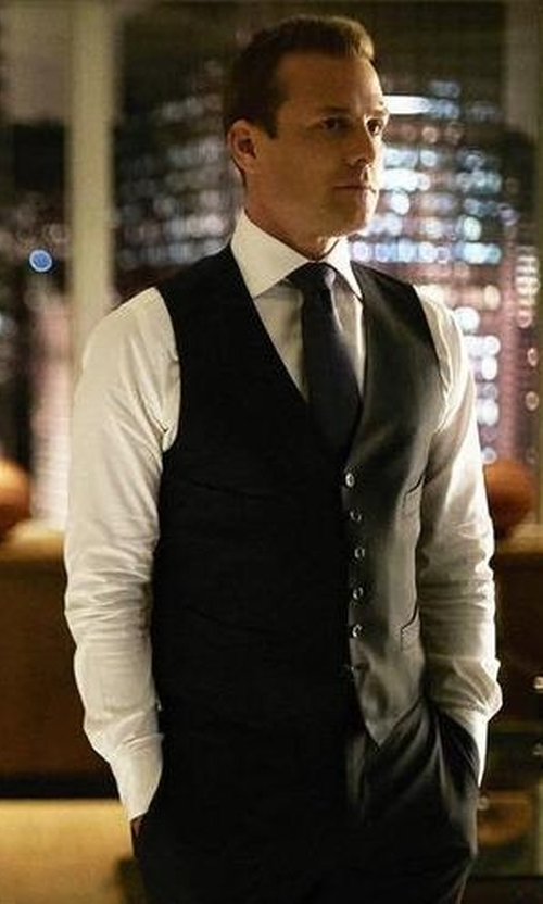 Gabriel Macht with Hugo Boss Stretch Wool Vest in Suits