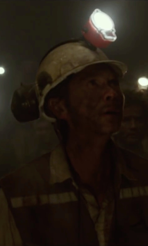 Lou Diamond Phillips with Bullard Mining Hard Hat in The 33
