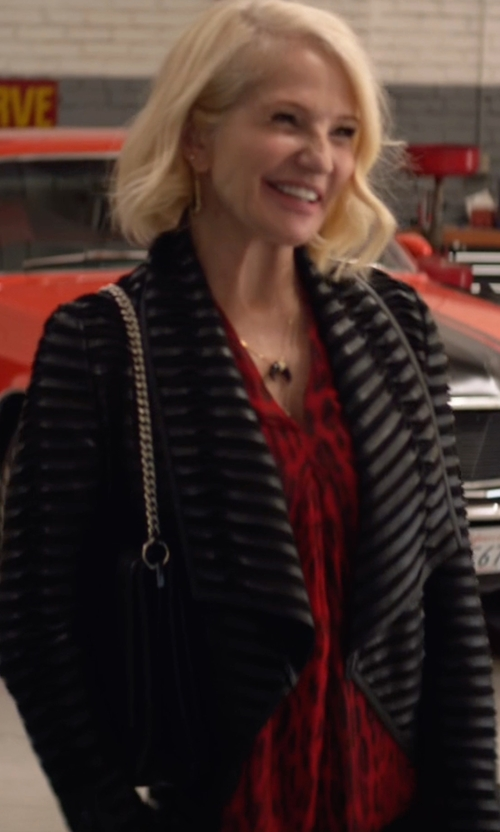 Ellen Barkin with Alice + Olivia Colton Draped Leather Jacket in Animal Kingdom