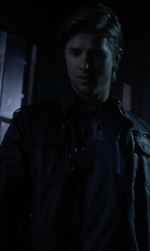 Drew Van Acker with Urban Outfitters Faux-Leather Moto Jacket in Pretty Little Liars