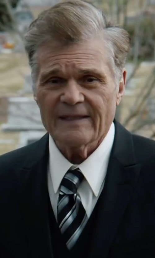 Fred Willard with John Varvatos U.S.A Silk Twill Stripe Tie in Anchorman 2: The Legend Continues