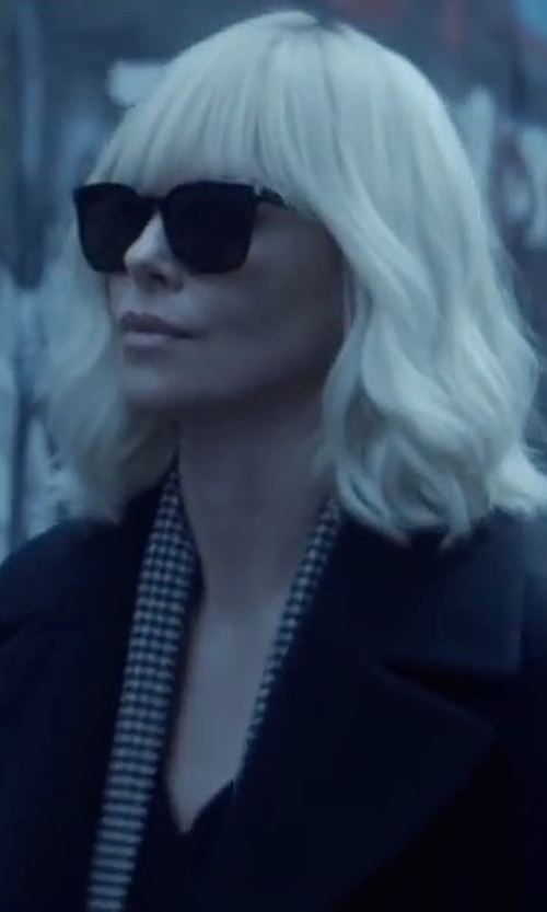 Charlize Theron with DKNY Long Tailored Wool-Blend Coat in Atomic Blonde