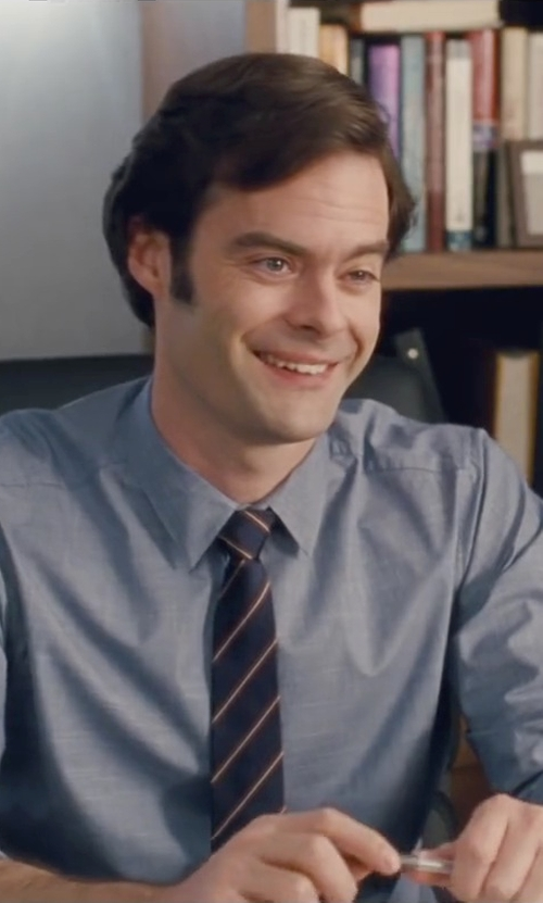 Bill Hader with Ralph Lauren Narrow Barathea Stripe Tie in Trainwreck