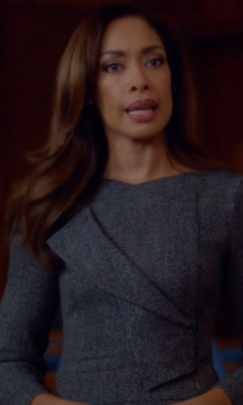 Gina Torres with Antonio Berard Long Sleeve Alpaca-Blend Dress in Suits