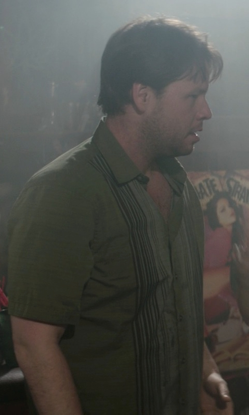 Ike Barinholtz with Van Heusen Vertical Stripe Casual Button-Down Shirt in Neighbors