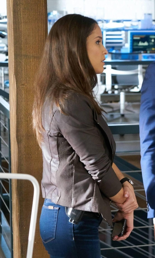 Jaina Lee Ortiz with Banana-Republic Collarless Leather Jacket in Rosewood