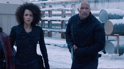Dwayne Johnson with Under Armour Pursuit Cargo Pants in The Fate of the Furious