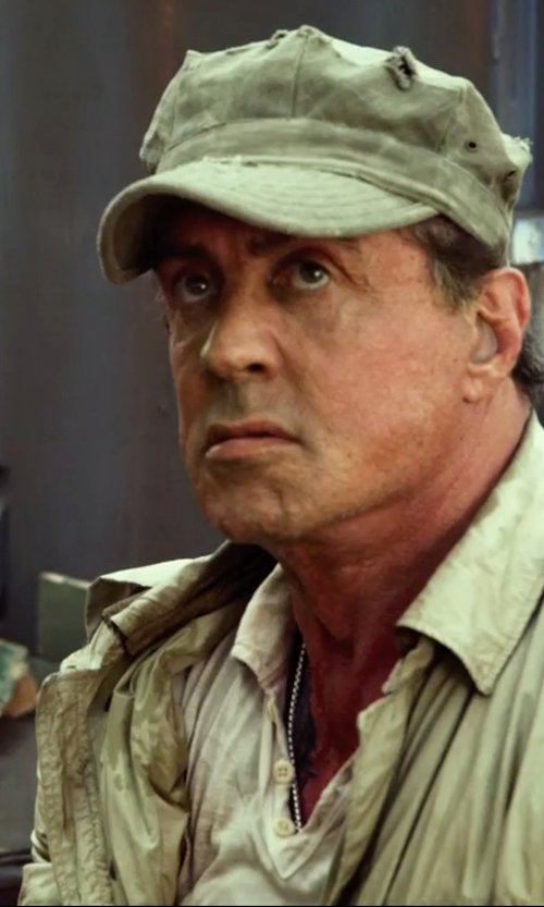 Sylvester Stallone with Majestic Filatures Long Sleeve Polo Shirt in The Expendables 3