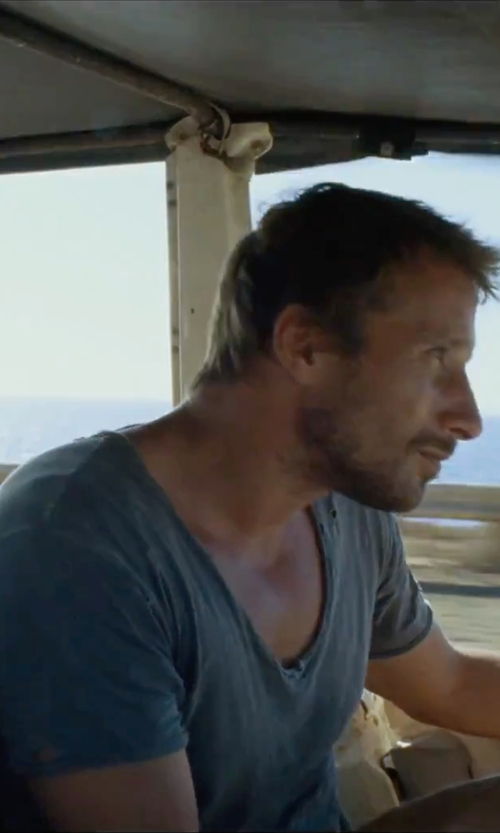 Matthias Schoenaerts with Saks Fifth Avenue Collection Pima-Cotton Slub T-Shirt in A Bigger Splash