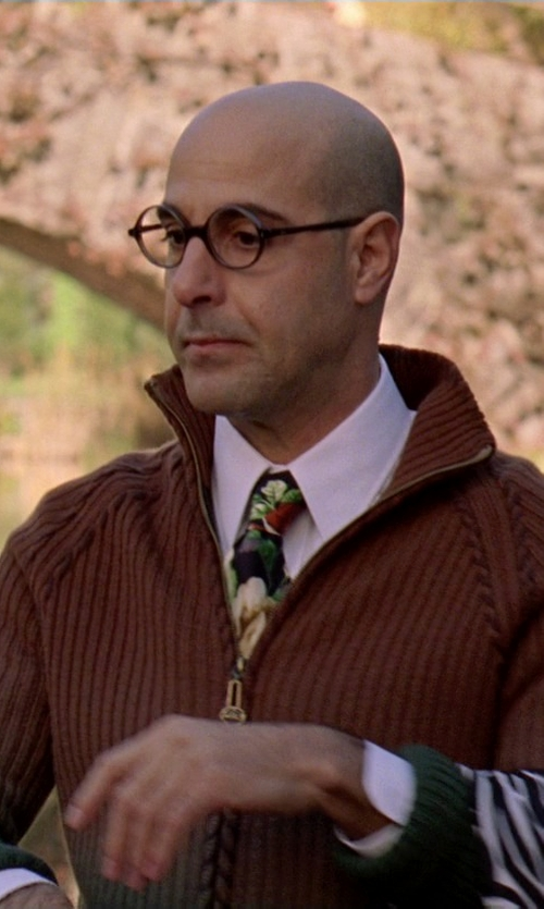 Stanley Tucci with Flatseven Casual Cable Knit Full-Zip Up Sweater in The Devil Wears Prada