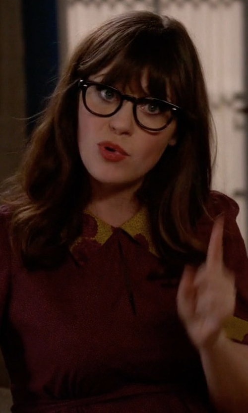 Zooey Deschanel with Lafayette 148 New York Hathaway Belted Zip-Front Dress in New Girl