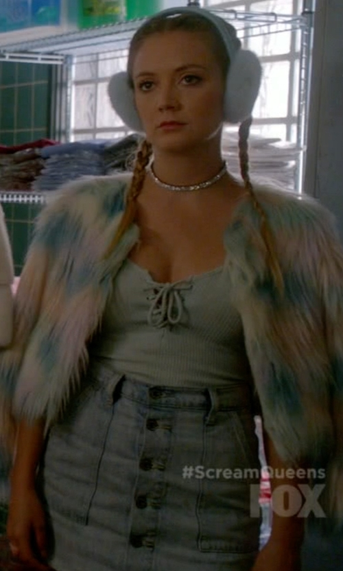 Billie Lourd with Paige Denim Bianca Skirt in Scream Queens